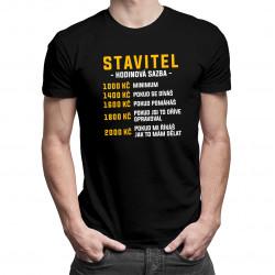 Stavitel - hodinová sazba - pánské tričko s potiskem