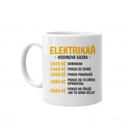Elektrikář - hodinová sazba - hrnek