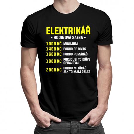 Elektrikář - hodinová sazba - pánské tričko s potiskem