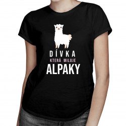 Dívka, která miluje alpaky  - dámská trička  s potiskem