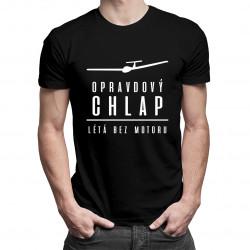 Opravdový chlap létá bez motoru - pánská trička  s potiskem