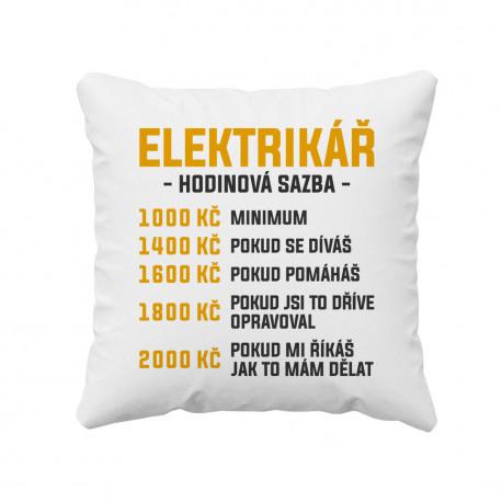 Elektrikář - hodinová sazba - polštář