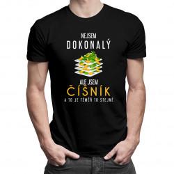 Nejsem dokonalý, ale jsem číšník a to je téměř to stejné - pánské tričko s potiskem