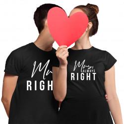 Komplet pro páry - Mr. Right, Mrs. Always Right - trička s potiskem