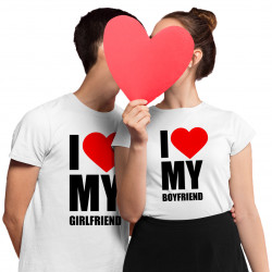 Komplet pro páry -  I love my boyfriend, I love my girlfriend - trička s potiskem