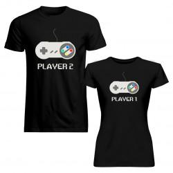 Komplet pro páry - Player 1, Player 2 v1- trička s potiskem