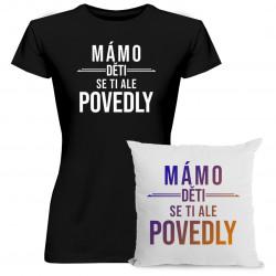 Komplet pro mámu - Mámo, děti se ti ale povedly - tričko a polštář s potiskem