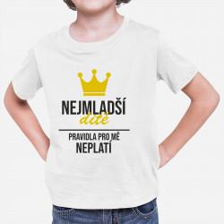 Nejmladší dítě - pravidla pro mě neplatí - dětské tričko s potiskem