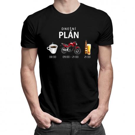 Dnešní plán: káva, motorka, pivo - pánské tričko s potiskem