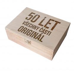50 let - všechny části originál - dřevěná krabička s gravírováním